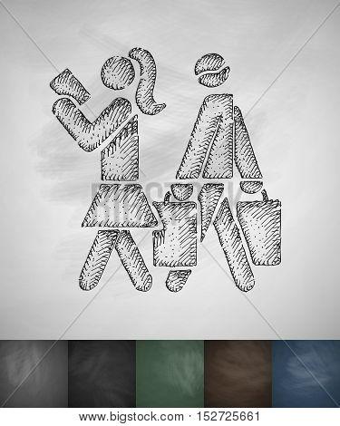 buyers shopping icon. Hand drawn vector illustration. Chalkboard Design