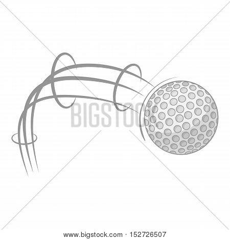 Kick of golf ball icon. Gray monochrome illustration of kick of golf ball vector icon for web