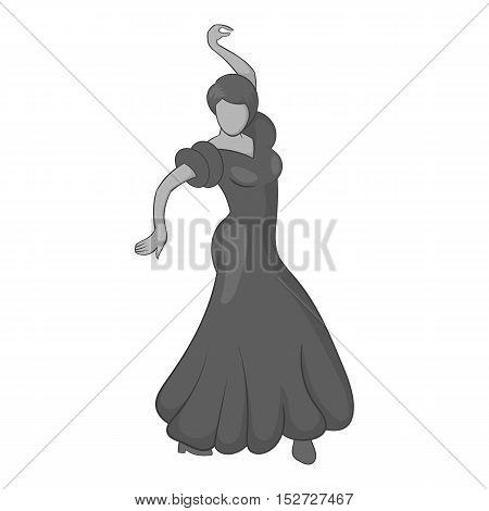 Girl dancing flamenco icon. Gray monochrome illustration of girl dancing flamenco vector icon for web