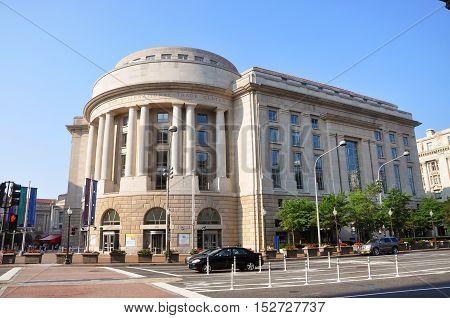 Ronald Reagan Building on Pennsylvania Avenue in Washington DC, USA.