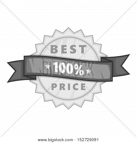 Label best price one hundred percent icon. Gray monochrome illustration of label best price one hundred percent vector icon for web