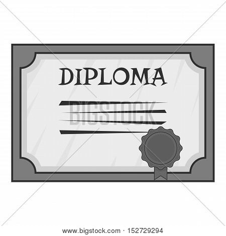 Diploma icon. Gray monochrome illustration of diploma vector icon for web