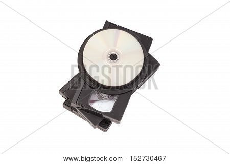 Video Cassettes And CD disc isolated on white background