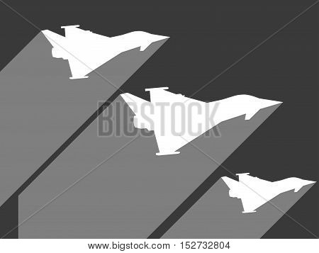 Fighter flat. Military fighter with a long shadow. Jet fighter icon flat. Vector illustration.