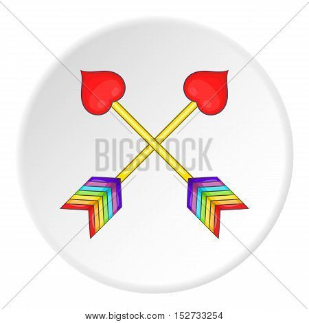 Two arrows LGBT icon. Cartoon illustration of two arrows LGBT vector icon for web