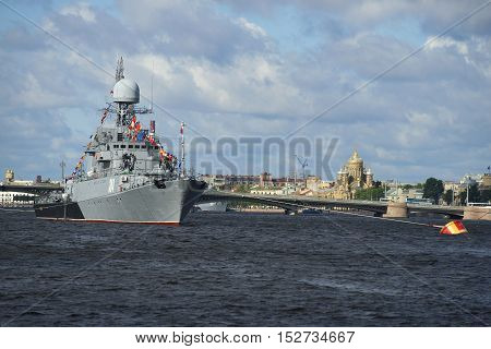 SAINT PETERSBURG, RUSSIA - JULY 25, 2015: Small anti-submarine ship
