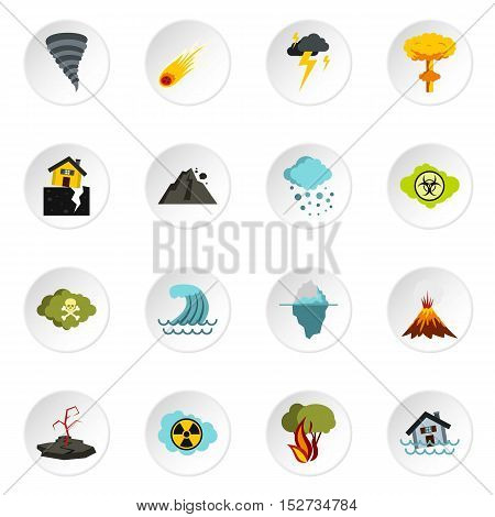 Natural disaster icons set. Flat illustration of 16 natural disaster vector icons for web
