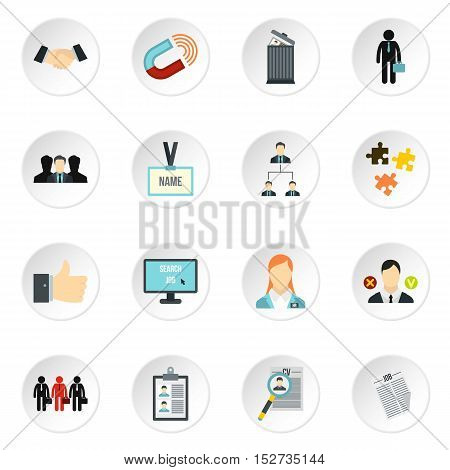 Job search icons set. Flat illustration of 16 job search vector icons for web