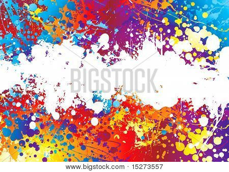 Rainbow coloured abstract background with a white band