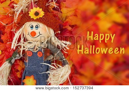 Halloween Scarecrow Scene Some fall leaves and girl scarecrow with text Happy Halloween