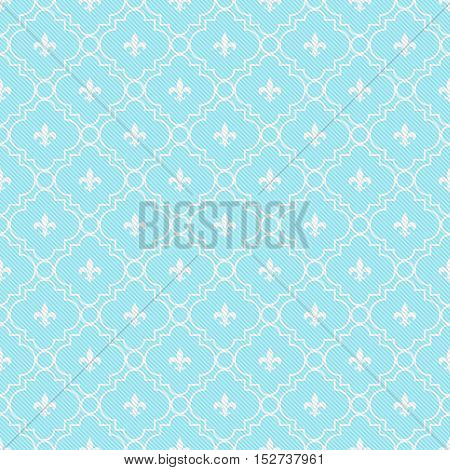 Teal and White Fleur-De-Lis Pattern Textured Fabric Background that is seamless and repeats