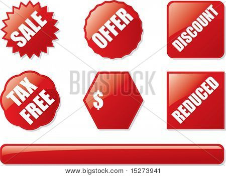 Illustrated set of buttons or tags in shiny red with a drop shadow