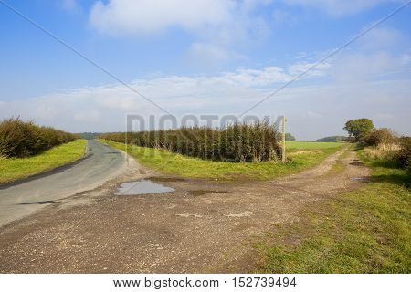 Country Highway And Farm Track