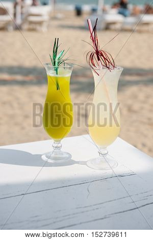 Colourful drinks on the beach stock pictures