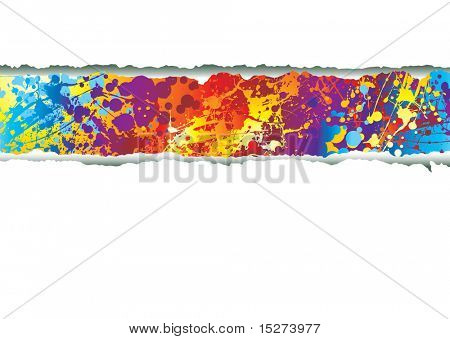 Rainbow ink splat background with tear in paper