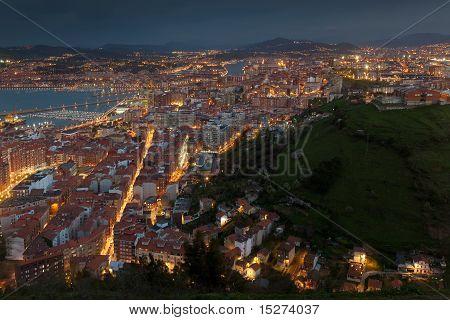 Nightfall in the city of Santurtzi Bizkaia Spain poster