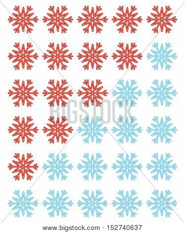 Vector set of red and blue rating snowflakes over white. Elements for your winter designs, vote, web and other projects.