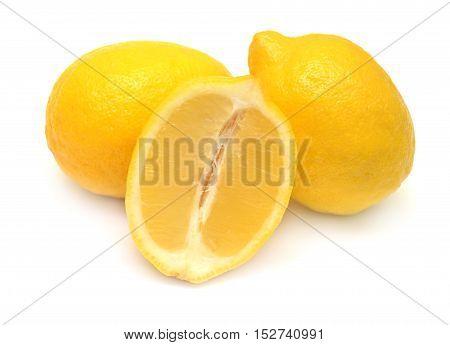 Lemon isolated on white background. Fruit. Flat.