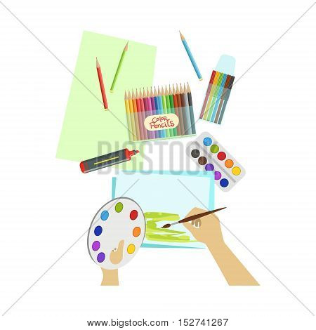 Child Painting Landscape Illustration With Only Hands Visible From Above. Kids Art And Craft Lesson Colorful Cartoon Cute Vector Picture.