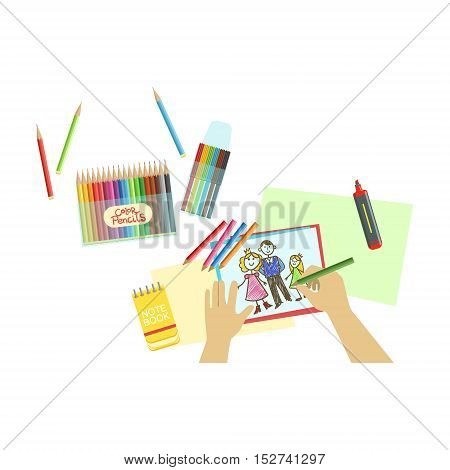 Child Drawing Portrait Illustration With Only Hands Visible From Above. Kids Art And Craft Lesson Colorful Cartoon Cute Vector Picture.