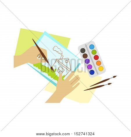 Child Painting House Illustration With Only Hands Visible From Above. Kids Art And Craft Lesson Colorful Cartoon Cute Vector Picture.
