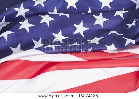 Closeup of ruffled American nation flag symbol