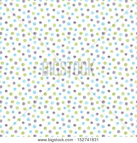 Watercolor seamless pattern with gray blue and green painted dots dragee candy jellybeans. Pastel dotted background polka dot texture on white backdrop. Modern abstract pattern
