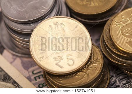 Indian Currency Rupee Coins money  close up