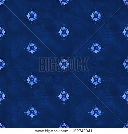 Watercolor royal blue velour seamless pattern renaissance tiling ornament. Indigo background with stylized heraldic lily. Blue velvet revival tracery design. Denim texture backdrop