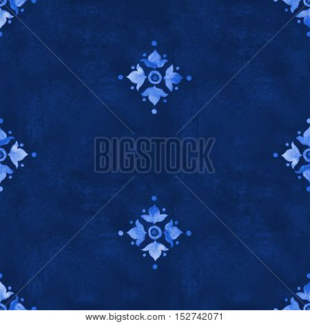 Watercolor royal blue velour seamless pattern renaissance tiling ornament. Indigo background with stylized heraldic lily. Blue velvet revival tracery design. Denim texture backdrop