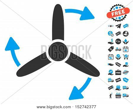 Three Bladed Screw Rotation icon with free bonus symbols. Vector illustration style is flat iconic symbols, blue and gray colors, white background.