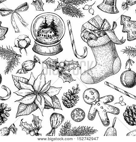 Christmas object seamless pattern. Hand drawn vector background. Xmas plants and symbols. Holiday engraved decorations. Holly, mistletoe, sock, stocking, poinsettia, gift, gingerbread man fir tree