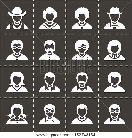 Vector People icon set on black background