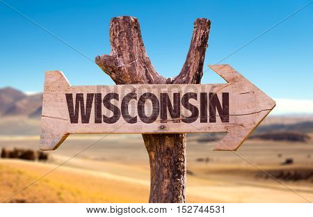 Wisconsin sign with desert background