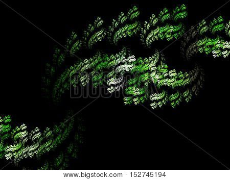 Abstract green and white smoke on blackbackground