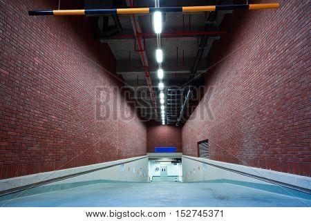 The of Indoor basement parking garage entrance