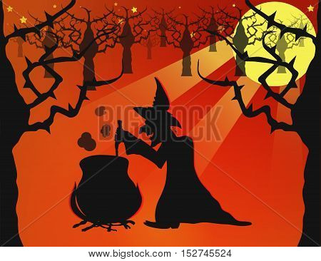 Haloween Night in the Magic Woods with an Ugly Spooky Witch Making Potion. Flat Style Vector. Vector EPS 10