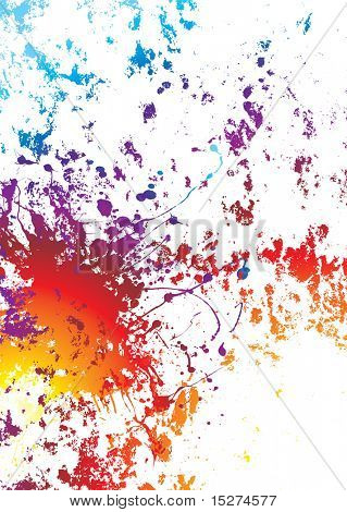 White background with rainbow grunge effect with paint splat