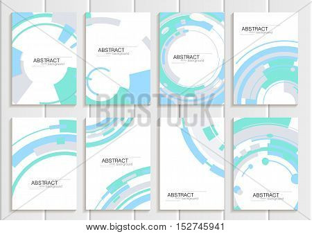 Stock vector set of brochures in abstract style. Design business templates with blue curves, turquoise rectangular shape white background for printed material, element, web site, card, cover, wallpaper