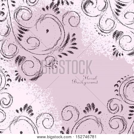 Abstract Floral Scribble Ornamental Decorative Pink Frame