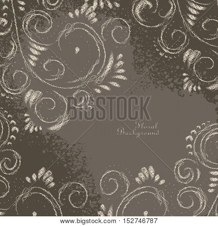 Abstract Floral Scribble Ornamental Decorative Brown Frame
