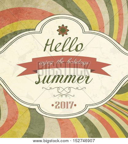 Vintage Grunge Summer Striped Colorful Background With Text