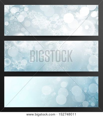 Set Of Winter Festive Abstract Snowflakes Blue Banners With Light