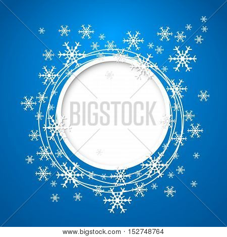 Vector christmas blue greeting card with round place for text and snowflakes.