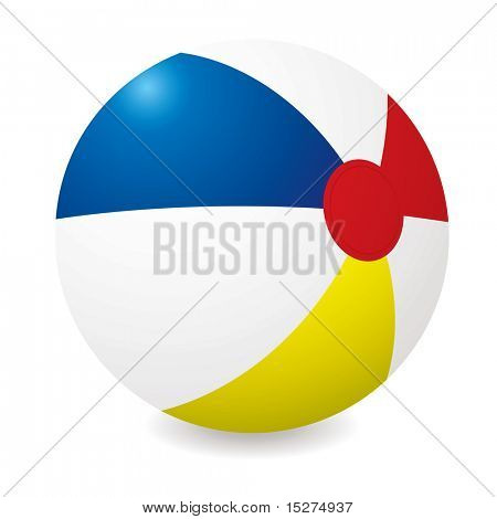 Illustrated beach ball with different colored sections and shadow