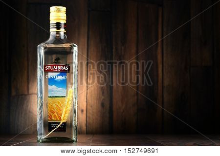 POZNAN POLAND - JULY 15 2016: AB Stumbras is the oldest and largest producer of distilled beverages in Kaunas Lithuania established in 1906.