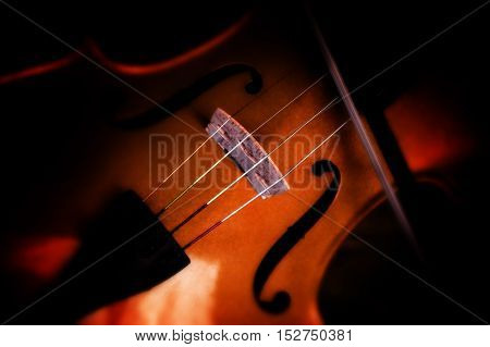 Detail of a violin with a blurry dark background copy space selected focus and very narrow depth of field