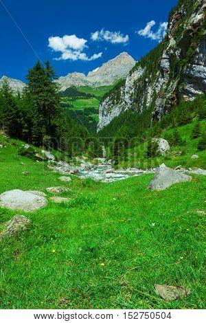 Rapid Stream In Klausen Pass, Switzerland
