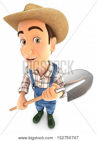 3d farmer holding a shovel illustration with isolated white background