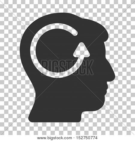 Gray Refresh Head Memory toolbar pictogram. Vector pictogram style is a flat symbol on chess transparent background.